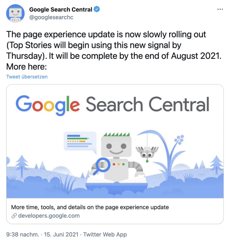 Tweet Google Page Experience Update